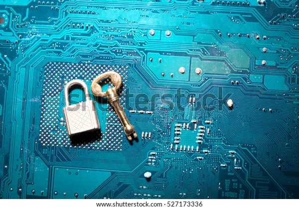 a security lock on a computer circuit board with unsuitable for the size key, random password hacking concept