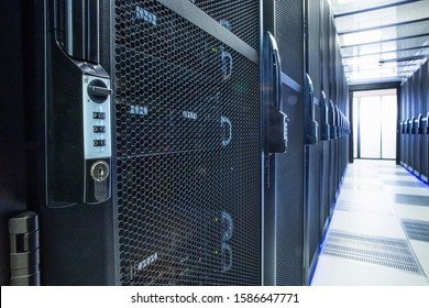 Security lock on mainframe computers in centre of data center server farm