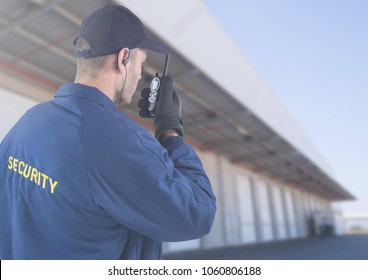 Security man outside house