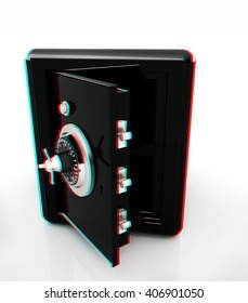 Security metal safe with empty space inside . 3D illustration. Anaglyph. View with red/cyan glasses to see in 3D.