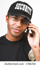 security officer talking on phone