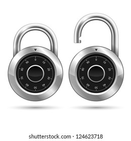 Security Padlock Icon isolated on white. Raster version