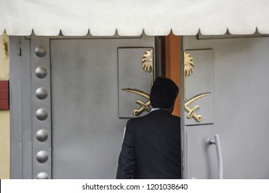 A security personnel member walks out of Saudi Arabia's consulate in Istanbul, Friday, Oct. 12, 2018.