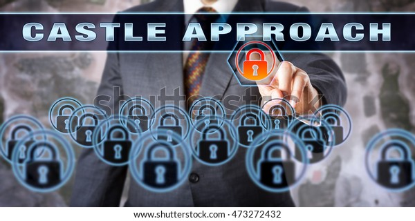 Security Professional Touching Castle Approach On Stock Photo