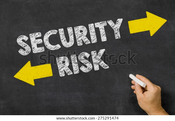 Security or Risk written on a blackboard