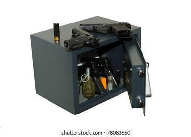 Security safe in the arms, isolated on whites