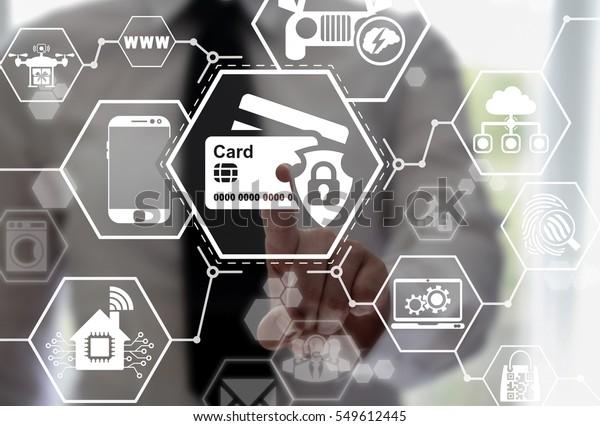 Security Safety Bank Card Iot Future ภาพสต็อก (แก้ไขตอนนี้) 549612445