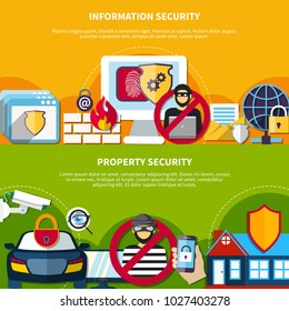Security and safety horizontal banners set with information and property security symbols flat isolated  illustration
