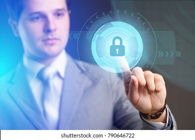Security services, cybersecurity and protection concept.Businessman offer padlock symbol of security.Business, technology.