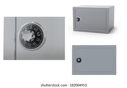 Security shut metal safe vault on an isolated white background.