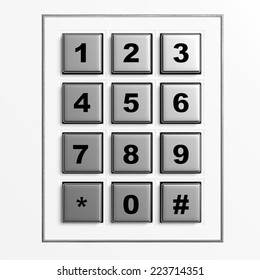 Security silver numeric pad isolated on white background