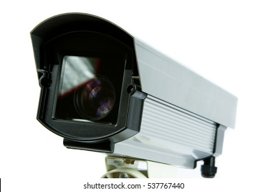 Security surveillance camera to monitor assets on a white background