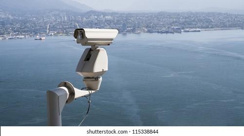 Security surveillance camera placed outdoor.