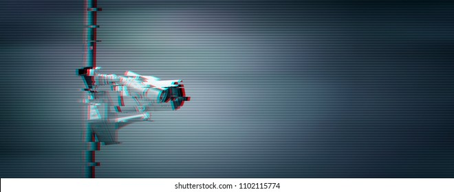 Security and surveillance cameras with digital glitch effect