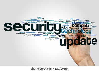 Security update word cloud concept on grey background