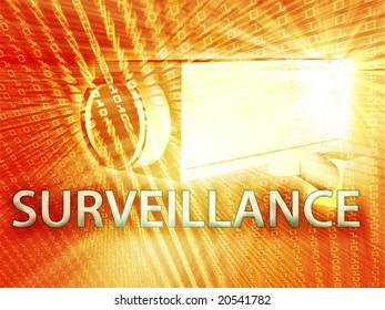 Security video camera digital surveillance equipment illustration