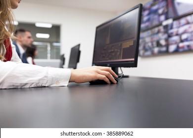 Security video surveillance. Control room operator.