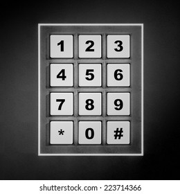 Security white numeric pad with black digits