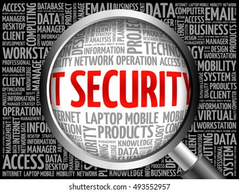 IT Security word cloud with magnifying glass, business concept 3D illustration