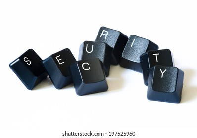 Security word with keyboard letters isolate on white background.