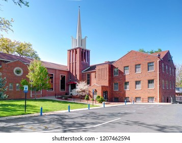 SEDALIA, USA, APR. 23, 2015: View of traditional American church made brown red bricks. Traditional USA church architecture