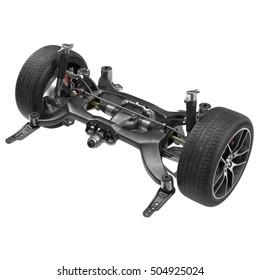 Sedan Back Axle isolated on white. 3D illustration