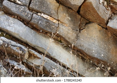 Sedimentary rocks in the mountains: stratums