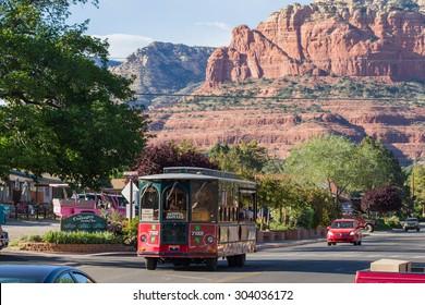 Sedona, Arizona - April 13 : Sedona Trolley giving a tour of the city and scenery, April 13 2015 in Sedona, Arizona.