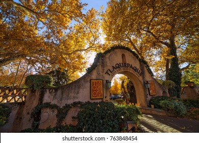 Sedona, Arizona - December, 10th 2016: The entrance to Tlaquepaque arts and crafts village decorated for the annual Festival of Lights.