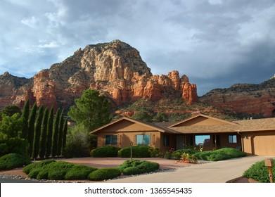 Sedona, Arizona, United States - October 10, 2004: Arizona house with mountain in backyard
