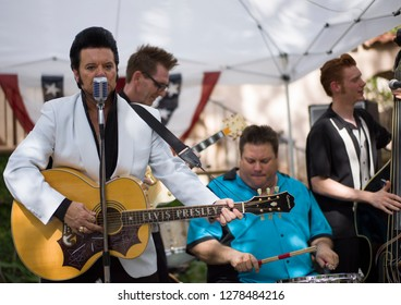 Sedona, Arizona / USA 11/11/2017  An Elvis impersonator and his band perform at Tlaquepaque Sedona Arizona's premier tourist destination