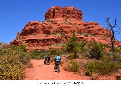 SEDONA, ARIZONA USA APRIL 23: Visitors enjoy Red Rock State Park is a state park of Arizona, USA, featuring a red sandstone canyon outside the city of Sedona. on april 23, 2014.