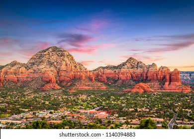 Sedona, Arizona, USA downtown and mountains.