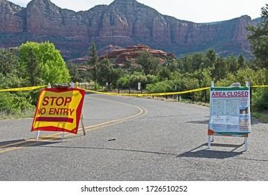 Sedona, Arizona/USA - May 8 2020: the popular Courthouse Vista trailhead has been closed by the U.S. Forest Service during the Covid-19 pandemic.