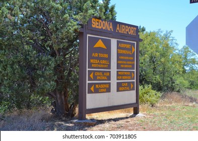 Sedona, AZ - August 24: Sedona Airport Entrance Sign on August 24,2017. Sedona has a small airport used only by helicopter companies and small tour airplanes.
