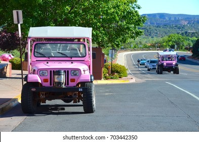 Sedona, AZ - May 1: Pink Jeep Plaza in Sedona, AZ on May 1, 2017. Pink Jeep tour company is the number one in Sedona.