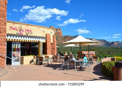 Sedona, AZ- September 15: Pink Java Cafe in Sedona, AZ on September 15, 2017. Many visitors from all over the world come to Sedona and enjoy a meal at their famous restaurants