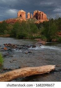 Sedona river crossing with storm clouds