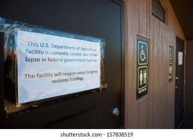 SEDONA, USA - 5 OCTOBER 2013: Public restrooms are closed due to the U.S. government shutdown in Sedona Red Rock Park, Arizona. Sedona, 5 October 2013