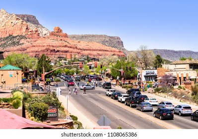Sedona USA, April 14, 2018: Midday city life at down town  of Sedona, Arizona, USA
