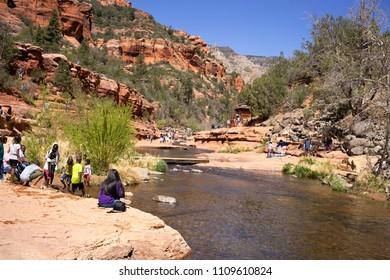 Sedona, USA, April 14,2018: Oak Creek at the Slide Rock State Park, Arizona