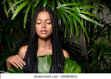 Seductive beautiful girl of mixed race with closed eyes and dreadlocks posing in green leaves. The concept of care and natural cosmetics