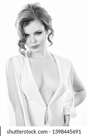 Seductive decollete concept. Lady attractive sexy model. Attractive decollete with breasts. Woman wear dress with deep decollete. Girl curly hairstyle wear dress with decollete white background.
