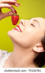 Seductive strawberry eating