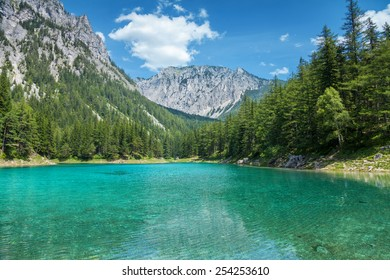 Grüner see with crystal clear water in Austrian Alps