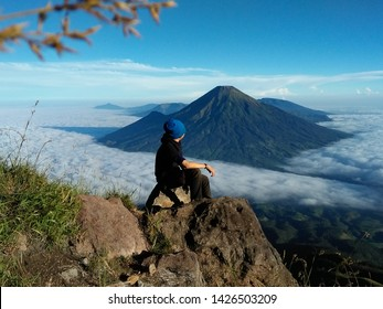 See Gunung Sindoro from the side of Sumbing Mountain