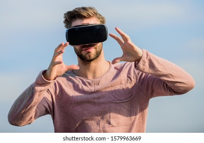 see the intangible. sexy man sky vr glasses. male reality. looking so modern. macho man wear wireless VR glasses.. create own business. Digital future and innovation. guy virtual reality goggles.