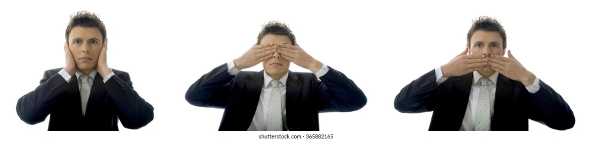 See no Evil, Hear no Evil, Speak no Evil concept with a young businessman. Isolated on white background with copy space.
