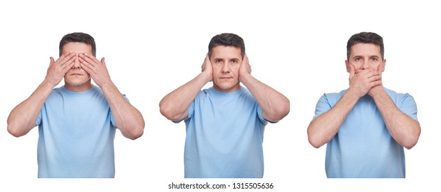 see nothing, hear nothing, say nothing concept. three adult middle aged men in blue t-shirts isolated on white. emotional set