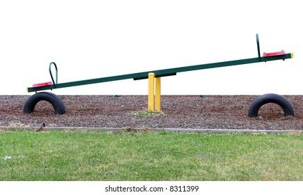 See saw on woodbark